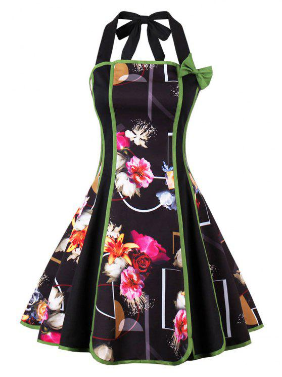 خمر الرسن عارية الذراعين الأزهار طباعة دبوس حتى اللباس - أسود M