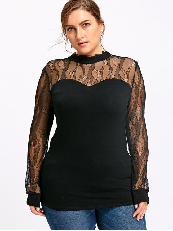 sale Plus Size Sheer Mock Neck Top - BLACK 3XL