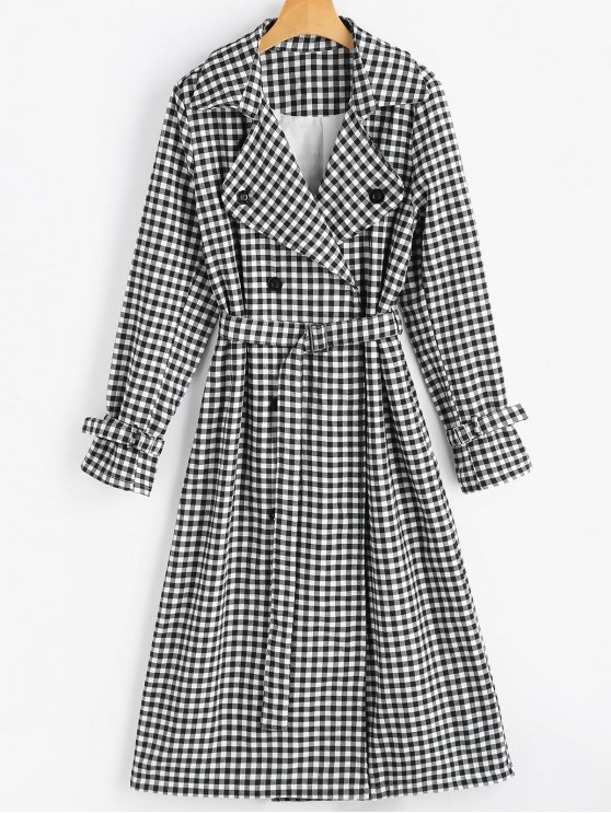 shop Snap Button Belted Checked Coat - CHECKED XL