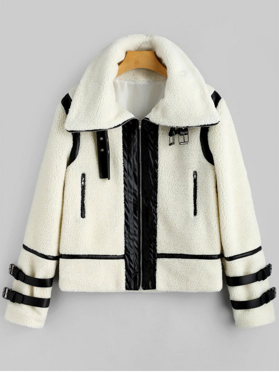 women Faux Leather Panel Zippered Shearling Coat - OFF-WHITE XL