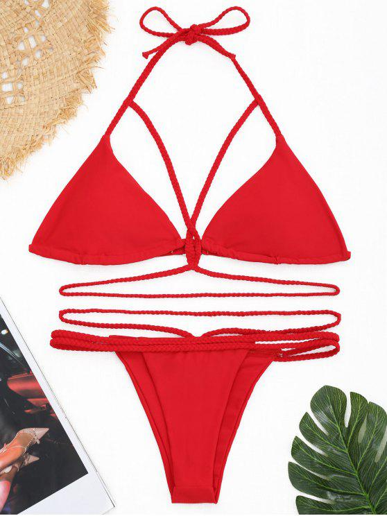 Strappy Plaited Halter Banded Bikini Set - Rosso S