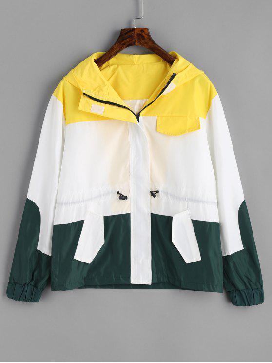 Jaqueta de bloco de cor com capuz - Branco L