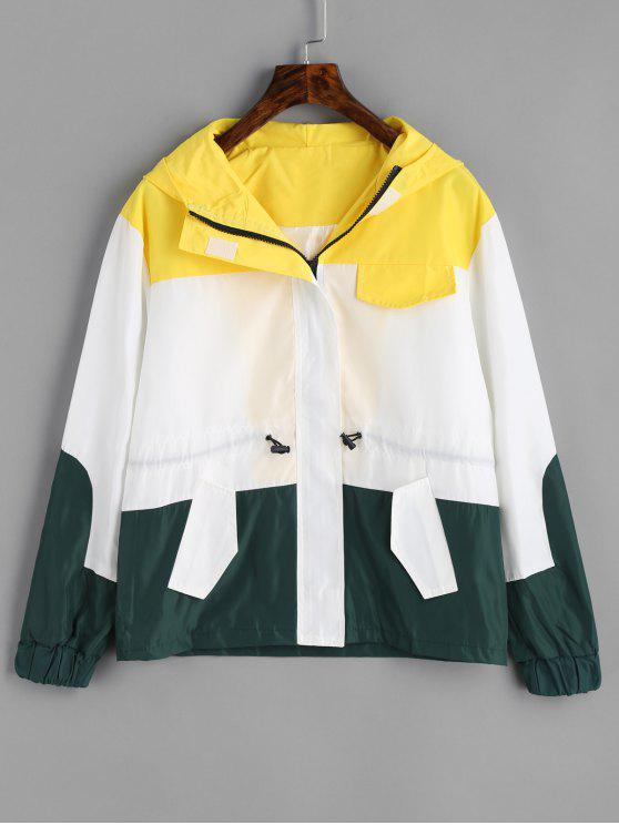 affordable Zip Up Hooded Color Block Jacket - WHITE M