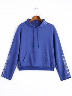 Pocket Letter Embroidered Hoodie - Blue