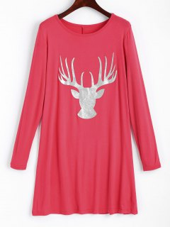 Longline Shiny Elk Christmas Top - Peach Pink S