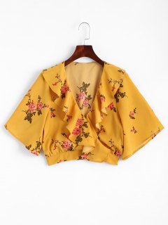 Floral Ruffles Crossed Blouse Avant - Moutarde  S