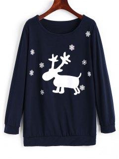 Sweat-shirt Imprimé Flocon De Neige Et Renne De Noël - Bleu Violet S