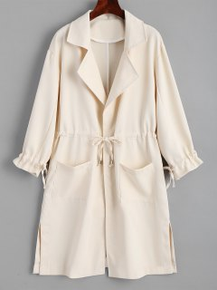 Side Slit Belted Skirted Trench Coat - Light Apricot S