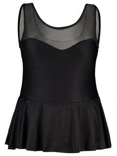 Ruffle Mesh Panel Plus Size Swimsuit - Black 2xl