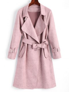 Belted Skirted Faux Suede Trench Coat - Pink M