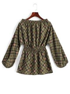 A Cuadros Blusa De Hombro Con Abertura - Comprobado S