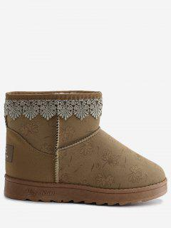 Flower Print Lacework Panel Suede Snow Boots - Yellow 40