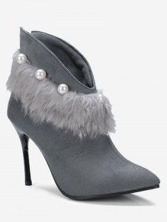 Stiletto Heel Faux Pearl Pointed Toe Boots - Gray 36