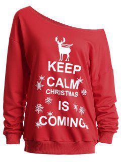 Keep Calm Skew Neck Christmas Sweatshirt - Red 2xl