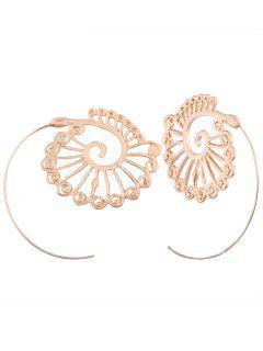 Vintage Hollow Out Embellished Spiral Stud Earrings - Golden