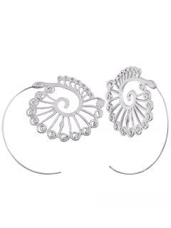 Vintage Hollow Out Embellished Spiral Stud Earrings - White