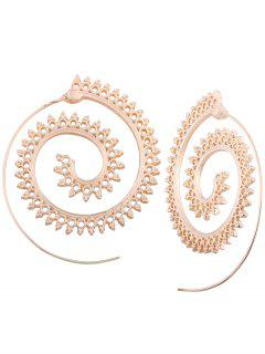 Hollow Out Embellished Tribal India Spiral Stud Earrings - Golden