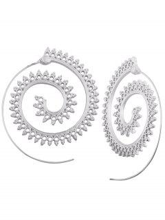 Hollow Out Embellished Tribal India Spiral Stud Earrings - Silver