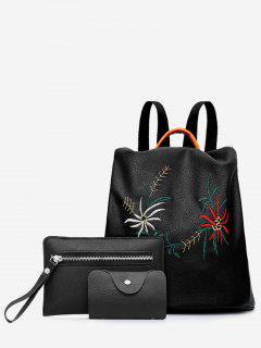 3 Pieces Embroidery Flowers Backpack Set - Black