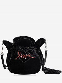 Heart Pattern Tassel Embroidery Crossbody Bag - Black
