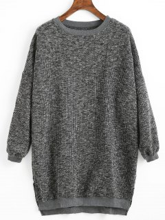 High Low Hem Side Slit Sweater - Deep Gray
