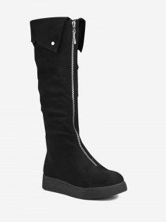 Faux Sude Zip Front Mid-calf Boots - Black 42