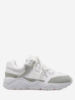 Low Top Color Block Sneakers - White 36
