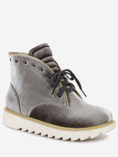 Lace Up Stacked Heel Velvet Boots - Smoky Gray 36