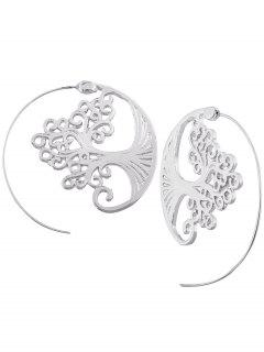 Hollow Out Spiral Tree Decorated Stud Earrings - Silver
