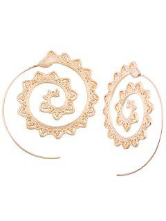 Hollow Out Spiral Heart Decorated Stud Earrings - White