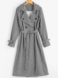Snap Button Belted Checked Coat - Checked M