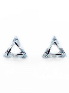 Rhinestone Triangle Stud Tiny Earrings - Silver