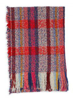 Multicolor Striped Pattern Embellished Fringed Long Scarf - Dark Red