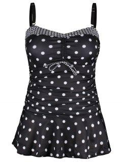 Plus Size Polka Dot Tankini Set - Black 2xl