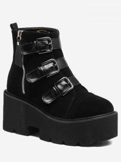 Platform Multi Buckles Side Zip Boots - Black 36