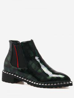 Rivets Low Heel Elastic Band Boots - Blackish Green 36