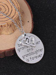 Heart Engraved Forever Family Pendant Necklace - Silver