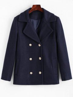 Lapel Collar Pea Coat With Pockets - Cerulean M