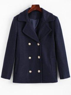 Lapel Collar Pea Coat With Pockets - Cerulean Xl