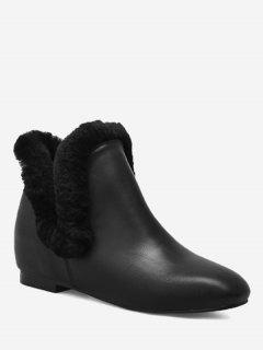 Square Toe Flat Heel Ankle Boots - Black 39