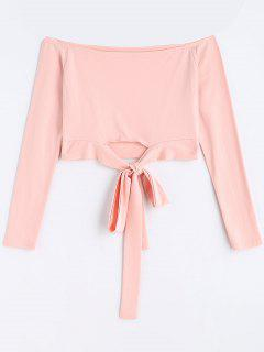 Bowknot Cropped Off Shoulder Top - Pink L