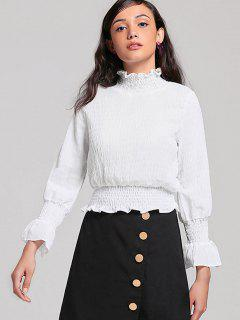 Piped Smocked Panel Ruffles Blouse - White S