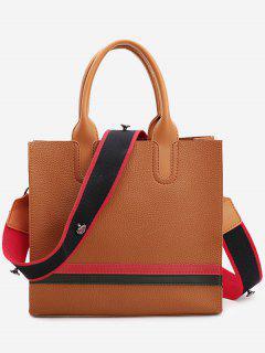 Striped Color Block Handbag - Brown