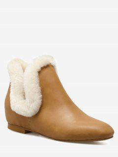 Square Toe Flat Heel Ankle Boots - Light Brown 36