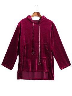 Chain Velvet Tunic Hoodie - Wine Red