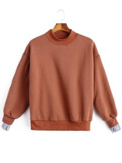 Mock Neck Stripe Panel Fleece Sweatshirt - Russet-red