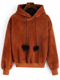 Pompom Velvet Hoodie - Brown