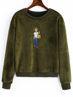 Embroidered Velvet Sweatshirt - Army Green