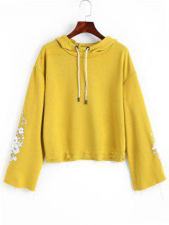 Frayed Hem Floral Embroidered Hoodie - Mustard