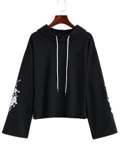 Frayed Hem Floral Embroidered Hoodie - Black